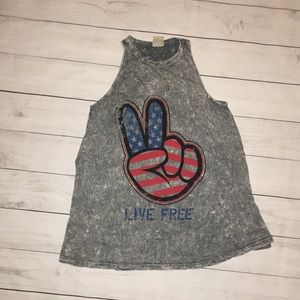 American Age Patriotic Peace Live Free Tank Top